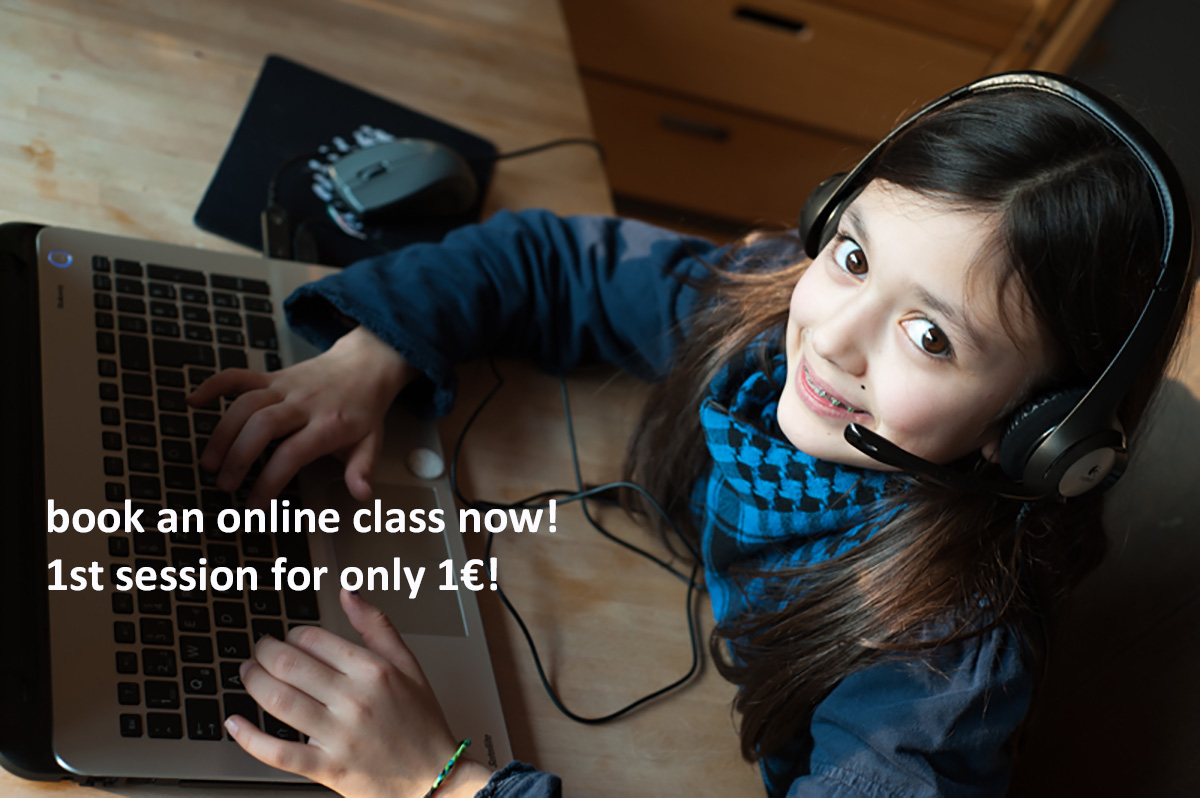 Photo showing a pupil taking an online class